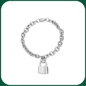 Unisex Silver Lock Charm w/ Link Bracelet